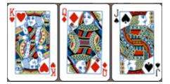 Bộ ba lá bài tây trong game bài super 10